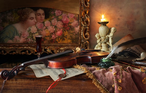 Picture style, notes, pen, violin, candle, picture, still life, candle holder, ink