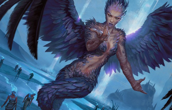 Picture wings, feathers, siren, Magic: The Gathering, Hugh Pindur