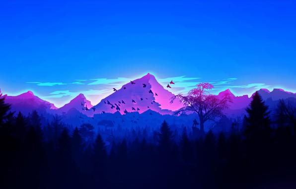 Picture forest, Landscape, sky, trees, nature, mountains, birds, man, digital art, artwork, silhouette