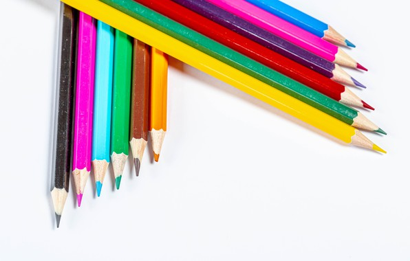 Picture pencils, white background, colorful