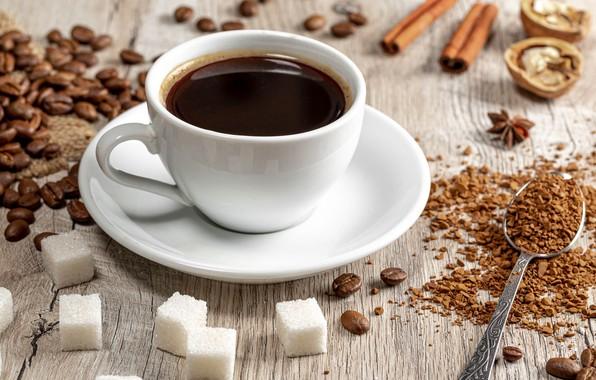 Picture coffee, spoon, mug, sugar, coffee beans