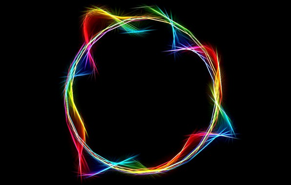 Picture abstraction, black background, rays of light, glowing lines, neon sphere