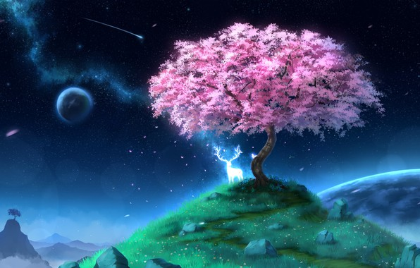 Picture spirit, deer, Sakura, hill