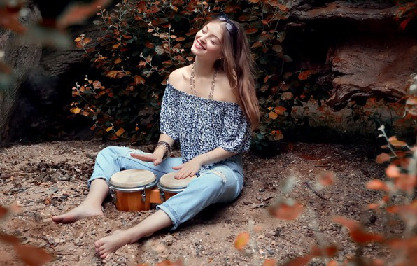 Picture girl, music, mood, drums