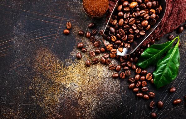 Picture coffee, grain, blade
