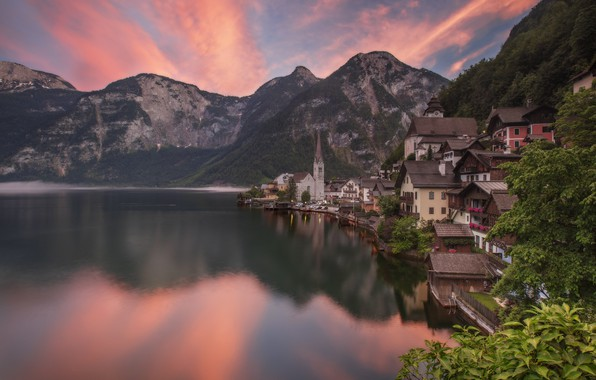 Picture landscape, mountains, nature, the city, lake, reflection, dawn, home, morning, Austria, Alps, Hallstatt, Hallstatt, Hallstatt, …