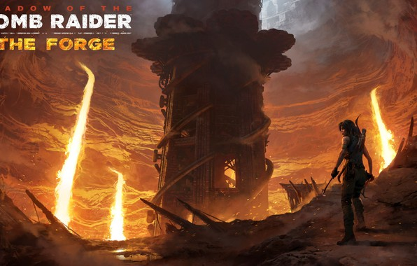 Picture hair, lava, Tomb Raider, Lara Croft, traps, DLC, Shadow of the Tomb Raider, The Forge