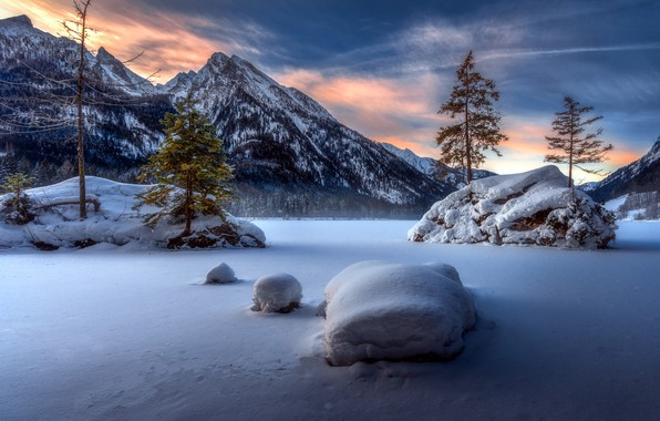 Picture snow, sunset, mountains