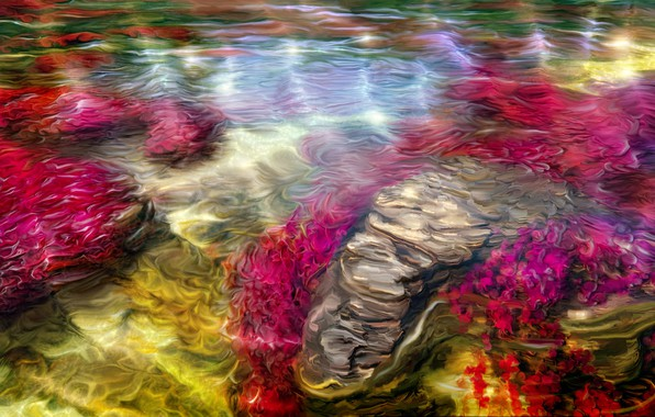 Picture summer, water, stream, art, Nina Vels, Ruby bay