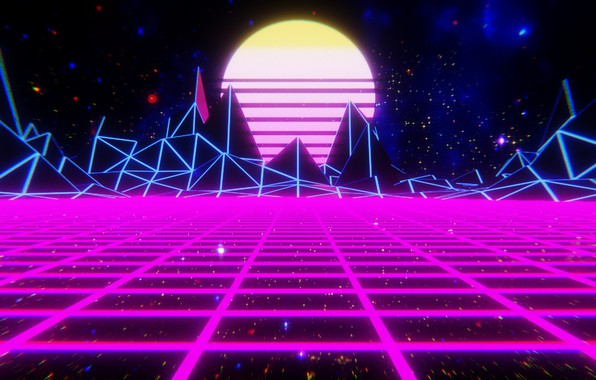Picture The sun, Mountains, Music, Space, Star, Background, 80s, Neon, 80's, Synth, Retrowave, Synthwave, New Retro ...