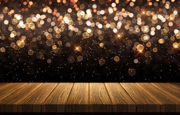 Picture background, Board, golden, gold, gold, new year, wood, background, bokeh, bokeh, celebration, sparkle