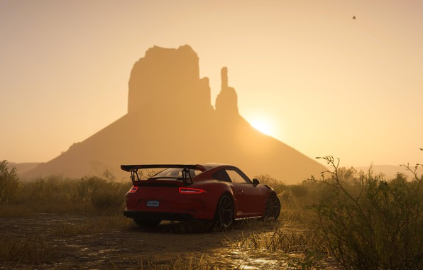 Picture sunset, 911, Porsche, game, Ubisoft, GT3 RS, The Crew 2