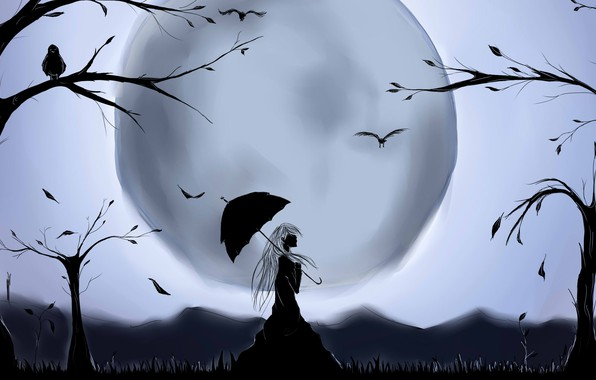 Picture trees, bird, the moon, silhouette, moon, long hair, long hair, trees, bird, fantasy art, silhouette, …