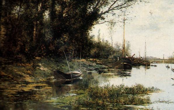 Picture river, boats, Cape Peri Nose, Alexander Gnevushev