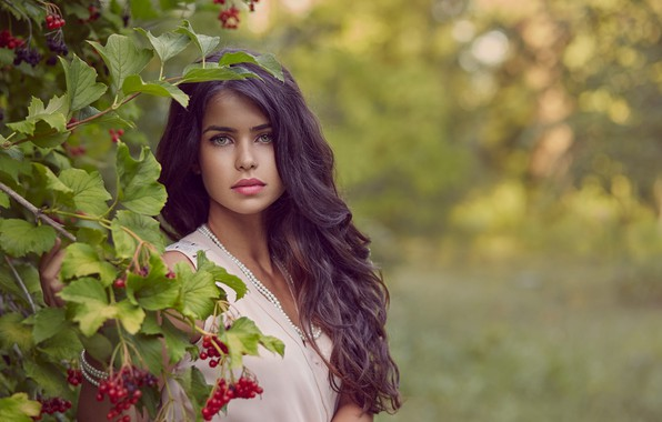 Picture girl, nature, berries, Bush, makeup, brunette, curls, Kalina