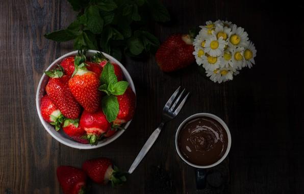 Photo Wallpaper Berries Chocolate Strawberry