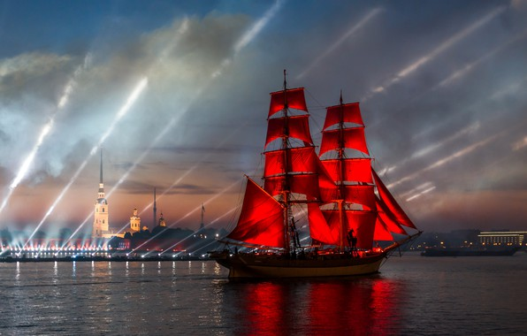 Picture night, the city, river, holiday, ship, Peter, Saint Petersburg, show, Neva, Scarlet sails