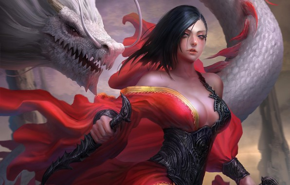 Picture girl, fantasy, cleavage, armor, weapon, breast, Warrior, red eyes, dragon, artwork, fantasy art, daggers, chest, …