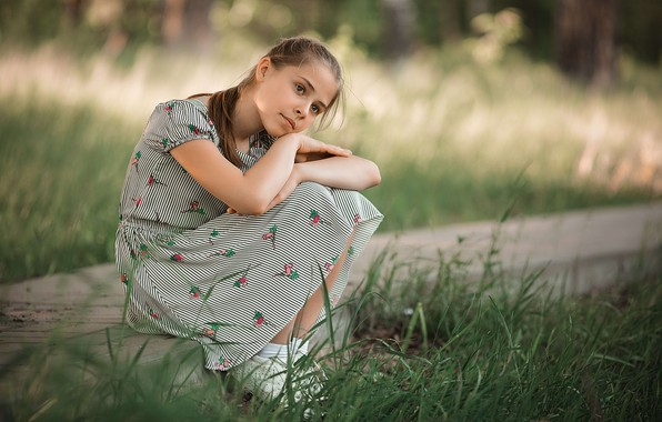 Picture summer, grass, girl, reverie, nature, dress, girl, Rus, teen, Vladimir Vasiliev