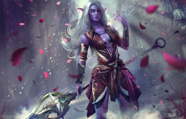 Picture girl, spear, warcraft, hunter, wow, art, world of warcraft, night elf, Lexith