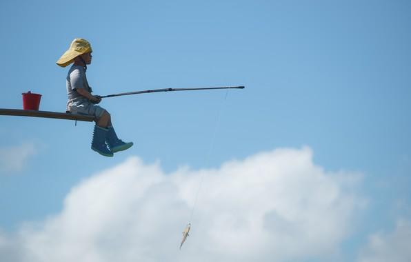 Picture the sky, fish, boy, rod, catch, Rybachok