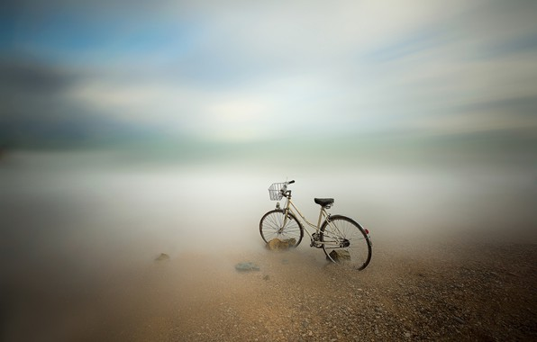 Picture sea, bike, blur