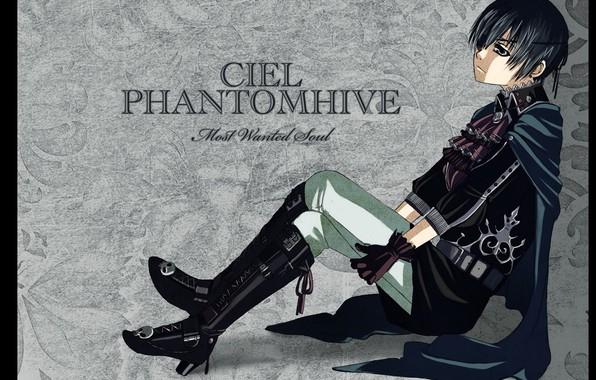 Picture abandoned, loneliness, skull, grey background, black cloak, Dark Butler, eye patch, Kuroshitsuji, Ciel Phantomhive