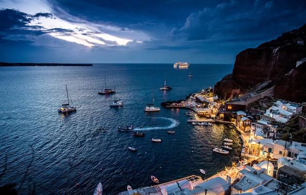 Picture sea, mountains, the city, home, boats, the evening, Santorini, Greece, Bay, Ia, Amoudi