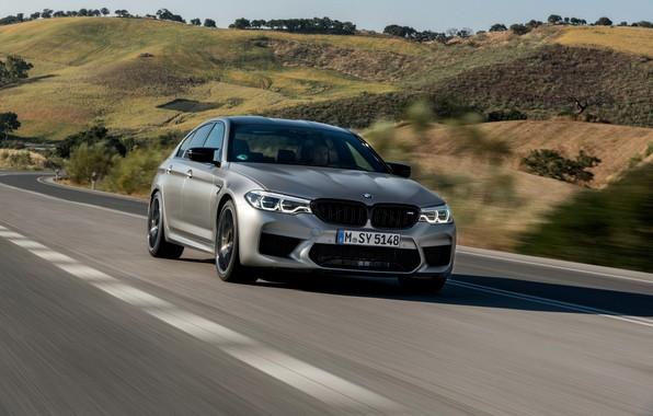 Picture road, grey, hills, vegetation, speed, BMW, sedan, 4x4, 2018, four-door, M5, V8, F90, M5 Competition