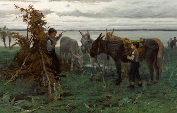 Picture 1865, Willem Maris, Dutch painter, Dutch artist, oil on canvas, Boys herding donkeys, Boys herding …