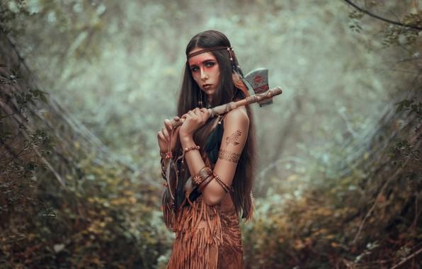Picture look, girl, pose, blur, axe, long hair, Tomahawk, paint, Indian, Julia Tagashova, Maria Miroshnichenko