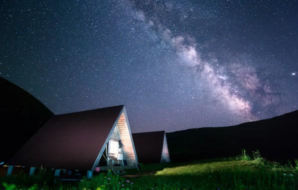 Picture the sky, light, landscape, mountains, night, nature, stars, houses, the milky way, Sochi, Serpski cornice