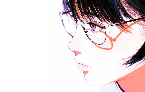 Picture face, shadow, glasses, white background, profile, mole, bangs, portrait of a girl, Ilya Kuvshinov