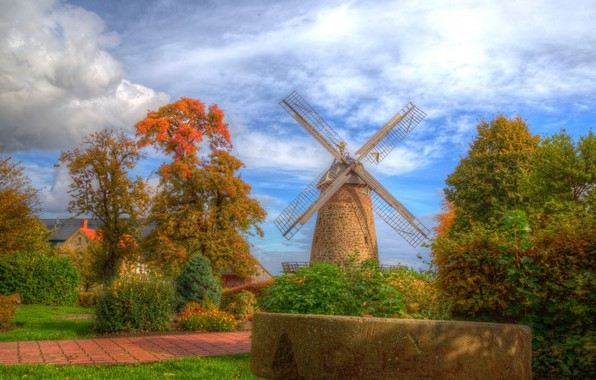 Picture landscape, nature, HDR, beauty, mill
