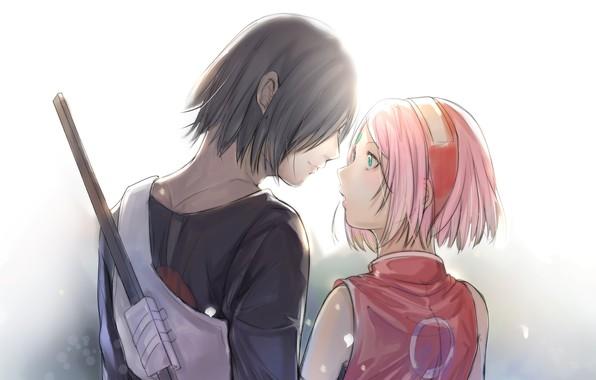 Picture romance, pair, Naruto, Naruto, Sasuke Uchiha, Sakura Haruno, Sasuke Uchiha, Sakura Haruno