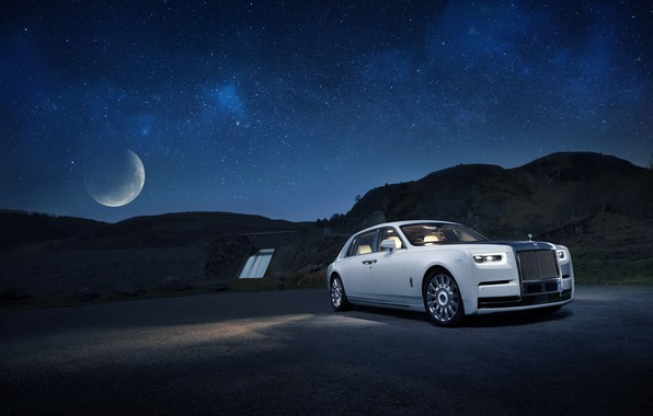 Picture machine, the sky, water, the moon, stars, Rolls-Royce, Phantom, Tranquillity
