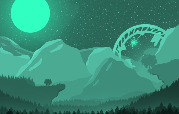 Picture forest, landscape, mountains, night, green, the moon, UFO, night landscape, the full moon, aliens, the …