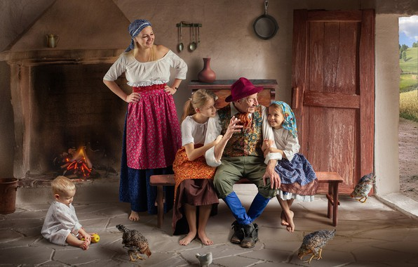 Picture children, house, people, grandfather, mother, chickens, Dmitry Usanin, Dmitry Yanin