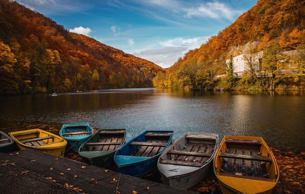 Picture autumn, landscape, mountains, nature, river, boats, pier, forest