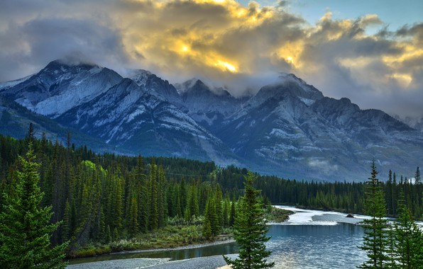 Picture forest, the sky, clouds, snow, trees, mountains, clouds, nature, river, rocks, Canada, Albert, Banff national …