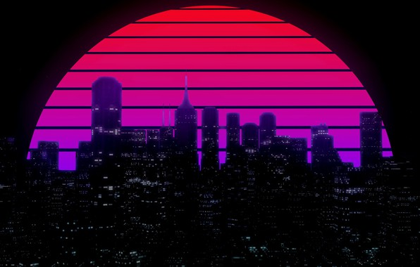 Picture The sun, Night, Music, The city, Star, Building, Background, 80s, Neon, 80's, Synth, Retrowave, Synthwave, ...