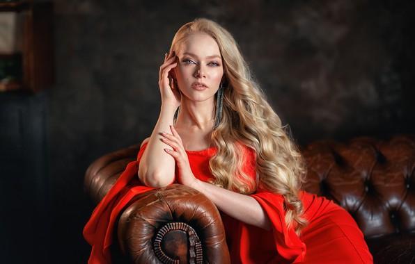 Picture look, girl, pose, sofa, hands, blonde, red dress, long hair, Anastasia Barmina