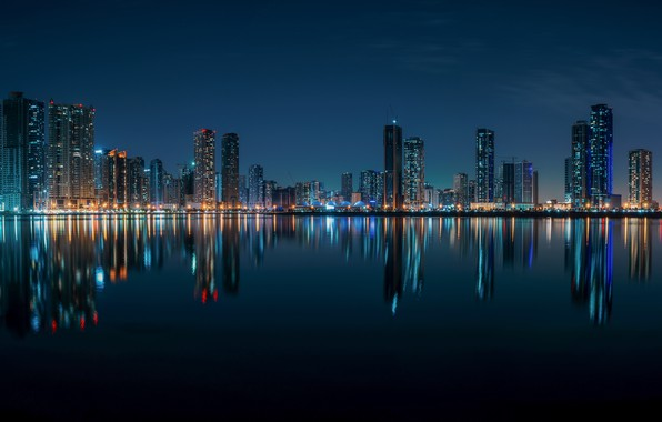 Picture water, reflection, building, home, night city, skyscrapers, UAE, The Persian Gulf, UAE, Sharjah, Persian Gulf, …