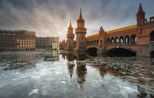 Picture bridge, the city, river, ice, Germany, tower, arch, Berlin