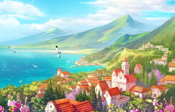 Picture sea, landscape, mountains, birds, coast, graphics, home, art, illustration
