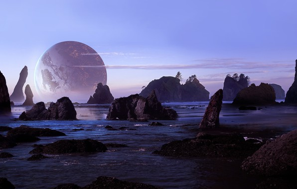 Picture sea, beach, the sky, rocks, planet, art, sci-fi