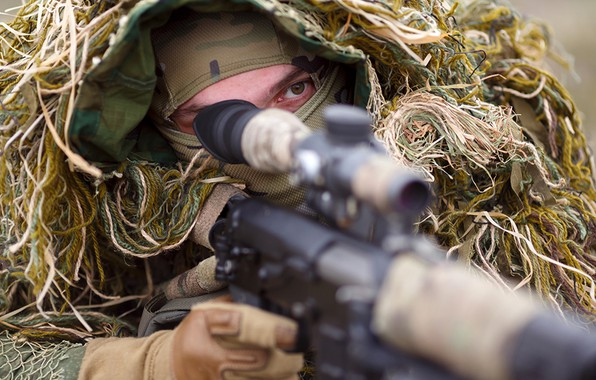 Picture disguise, sniper, camouflage, waiting, sight, rifle