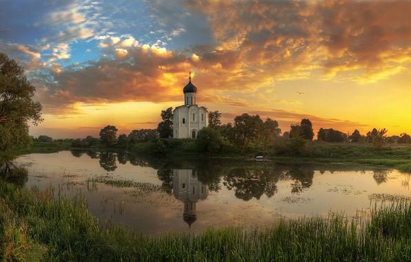 Picture summer, sunset, river, Vladimir oblast, Ed Gordeev, Gordeev Edward, The Church Of The Intercession