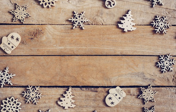 Picture winter, snowflakes, tree, Board, New Year, Christmas, Christmas, wood, winter, background, New Year, snowflakes, decoration, …
