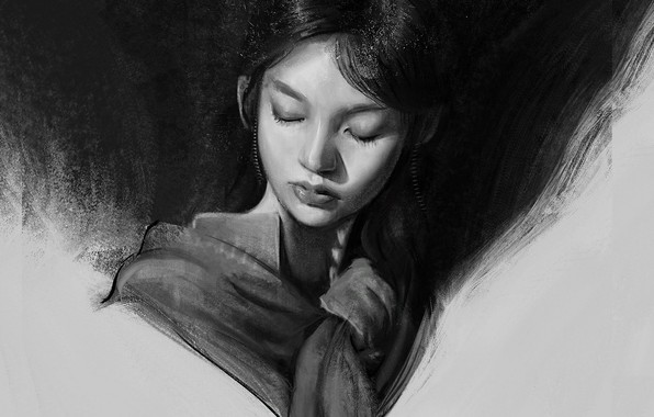Picture face, black and white, Asian, shawl, art, portrait of a girl, Mandy Jurgens, looking down